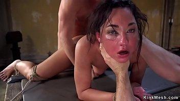 Brunette slave anal gangbang training