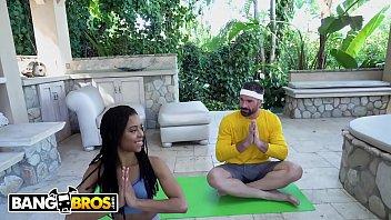 BANGBROS - Black Yoga Newbie Kira Noir Gets Fucked By Pervy Instructor thumbnail