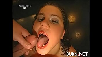 Filling their mouths with milky ball cream drive beauties insane
