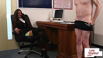 Voyeur in uk Cfnm bosslady humiliates employee in joi