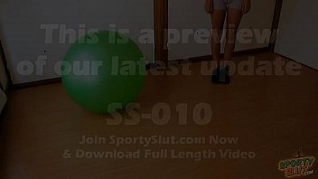 Round Ass Teen Working Out With Fitball Plus Cameltoe & Tits 90 sec