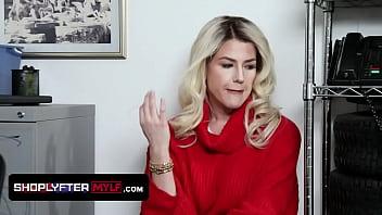 Gorgeous Milf Kit Mercer Caught Hiding Stolen Items Under Her Sweater