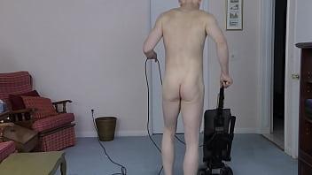 Horny Gay Nudist Cleans House 4K