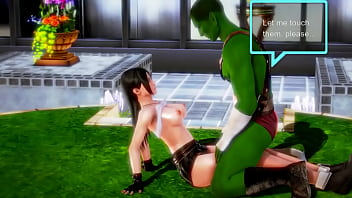 Tifa 最终幻想无尽 cosplay 游戏女孩与动画漫画中的绿色兽人男人发生性关系