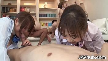 JAVHUB Four Japanese girls take turns fucking four men