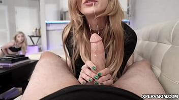 Lexi Lore sneaks up on her mom Aiden Ashley when she is sucking Lore's stepbrother's cock! Lore gets horny and starts masturbating!