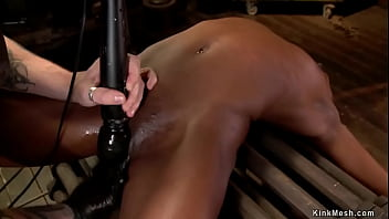 Ebony in back arch bondage fingered