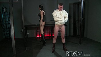 Jacket fetish sites Bdsm xxx slave boy in straight jacket and anal hook swings brick from his balls to please his mistre