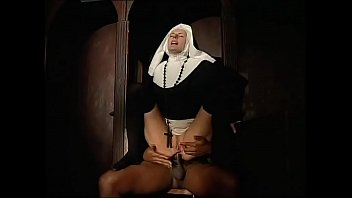 Dirty nun ass fucked by a black priest in the confessional