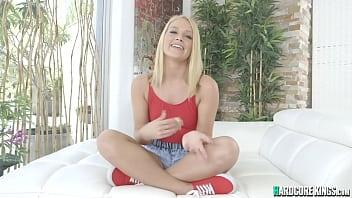 Beautiful blonde riding huge dick
