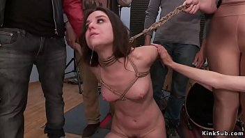 Slave anal group fucked in public