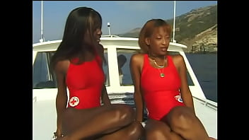 Supervisor of small mobile marine group of lifeguards  announced his members of his crew ebony hotties Kenya and Chocolate that dangerous mission was on the horizon