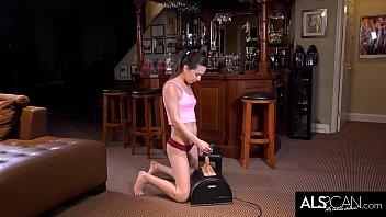 Petite Brunette Rides Her High Powered Sex Machine 11 min