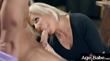 Older woman gagging on a young man meat making it wet and ready to pound her mature pussy