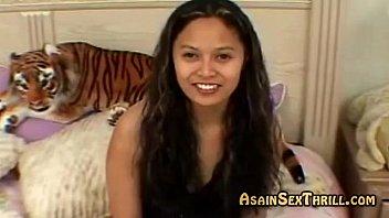 Asian amateur cutie gives pov blowjob