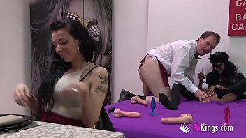 Latino girls masturbate A submissive tattoo artist gets drilled by a dude while a hot skinny latina watches