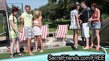 Free orgy party video - Pool party orgy 2 guys 5 chicks secret friends