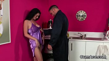Wicked looker gets cum shot on her face eating all the cum