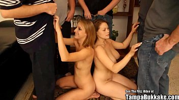 Tiny Tits VS Big Tits Bukkake Gangbang 5 min