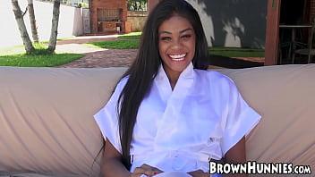 Ebony cutie in lingerie receives hardcore drilling outdoors 5 min