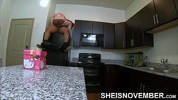 Teaching My DaughterInLaw How To Straddle Daddy Cock Ontop Of The Refrigerator, Stretching Her Tiny Black Pussy Hole Apart, With Ebony Step Daughter Msnovember Butt Flap Open For Easy Penetration, Unique Rough Family Sex Inside Kitchen On Sheisnovmber