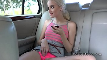 Blonde teen bangs driver with camera