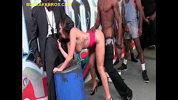 Brunette is Gangbanged by Black Dudes