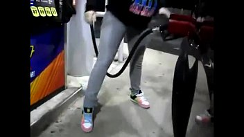 Female peeing while having sex - Desperate girl wetting pee jeans while pumping gas