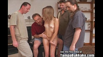 Tiny Teen Slut Bukkake Gang Bang! Thumb
