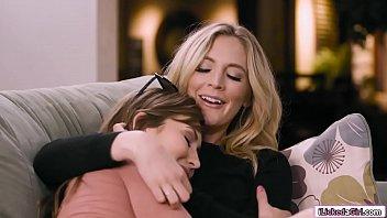 Teen babe asslicking her blonde stepmom