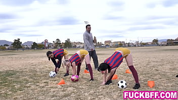 Soccer teens thank their much older coach as a team by sucking and fucking him