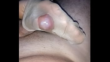 homemade footjob with cumshot inside her shiny nylonsocks
