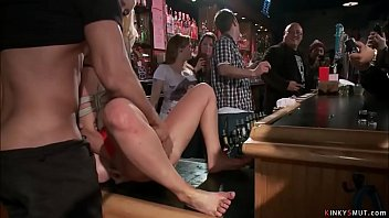 Bound slave anal fucked in public bar