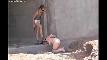ClairesSlaves.com - Mistress Claire dominates sybil outside