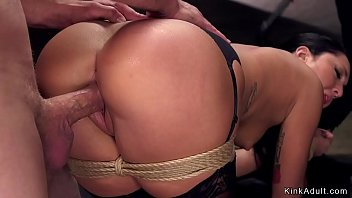 Slave trainee in stockings rough banged
