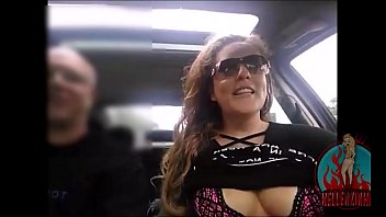 Married hottie showing off in the car to hundreds of fans, tits showing without hiding her face - full on RED