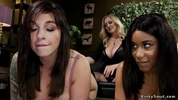 Huge tits Milf lesbian dom whips babes