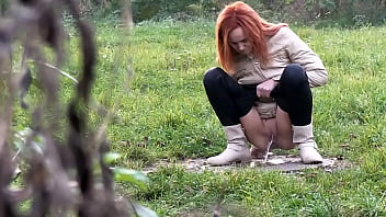 Double Public Pissing For Sexy Redhead