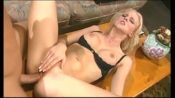 Hot blonde babe Hannah Harper gets her asshole and pussy drilled before she take warm cum on her face