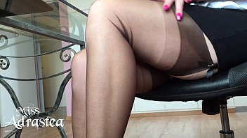 Miss Adrastea Nylonfeet under table