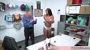 Ashley Leigh a sporty and pretty ebony shoplifter fucked