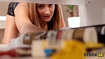 STUCK4K. Cleaning the house turned into hot fucking for a horny couple