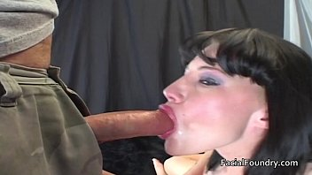 She gag on cock - Watering eyes after gagging on big cock