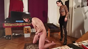 A slave caned & whipped by her dominant mistress pt1 HD