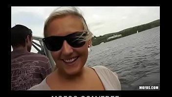 Slutty blonde Czech babe is paid cash for public sex 10 min