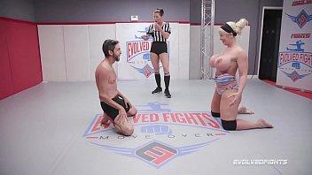 Alura Jenson dominates in mixed nude wrestling kicking loser in the balls Vorschaubild