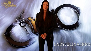 Cock Whore Slave Training Mistress Lady Julina with Wetlook Leather Leggings and Strapon