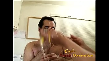 Angry dominatrix with big muscles hurts her husband really bad