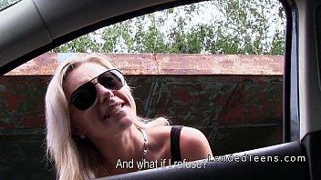 Blonde teen htich bangs stranger outdoor