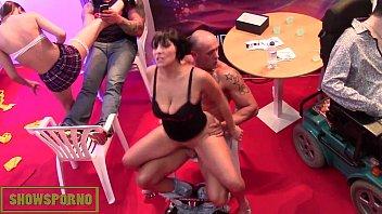 Hot pornstars fuck in public on stage